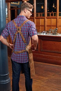 Premier PR140 - Artisan - Leather cross back bib apron