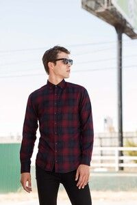 Skinnifit SFM560 - Mens Brushed back Check Casual Shirt with Button-down Collar