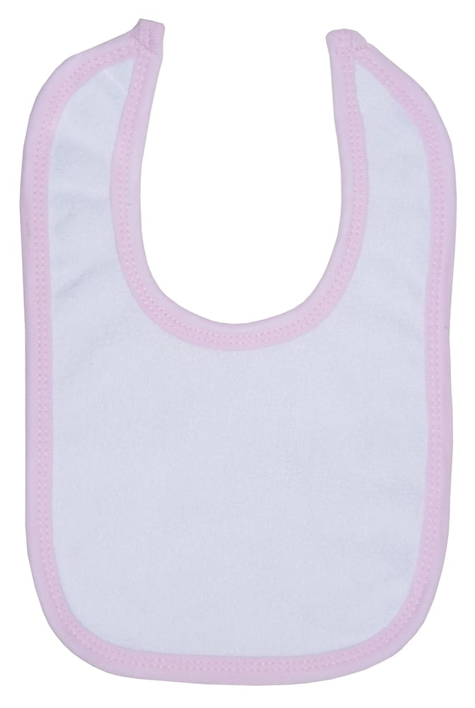 Infant Blanks 1024P - WHITE BIB WITH PINK TRIM