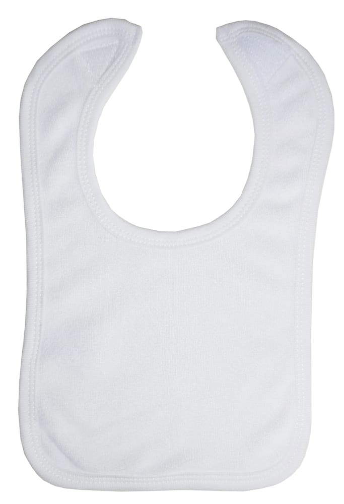 Infant Blanks 1024W - WHITE BIB WITH WHITE TRIM