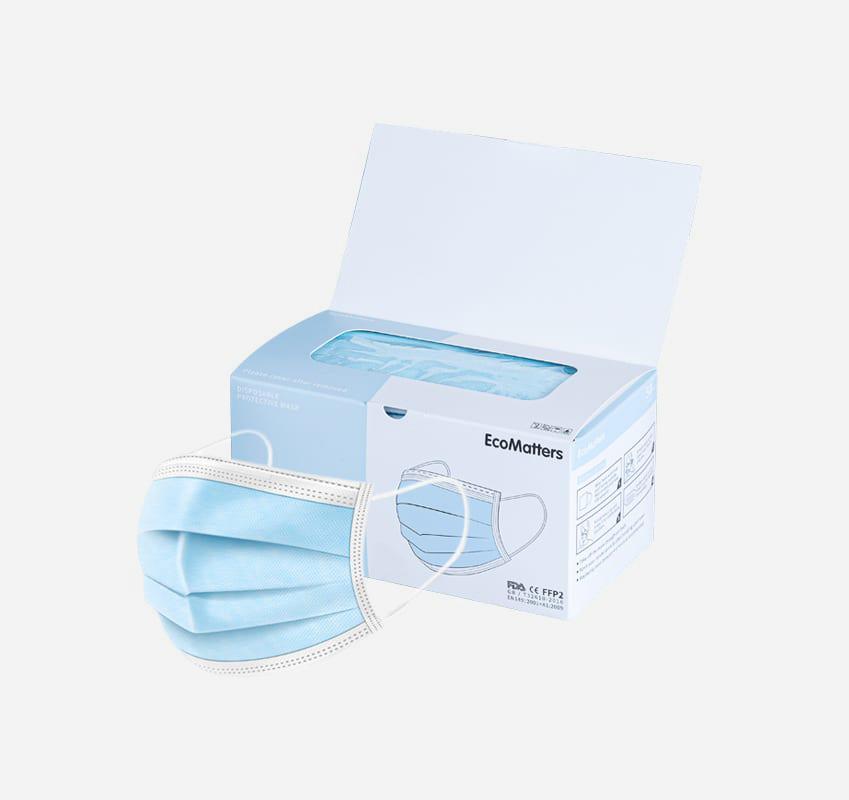 Máscaras 3-ply - Máscaras protetoras descartáveis de 3 camadas