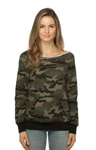 Royal Apparel 3120cmo - Womens Camo Fleece Raglan Sweatshirt