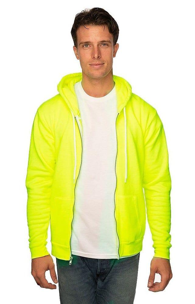 Royal Apparel 3150n - Unisex Fashion Fleece Neon Zip Hoodie
