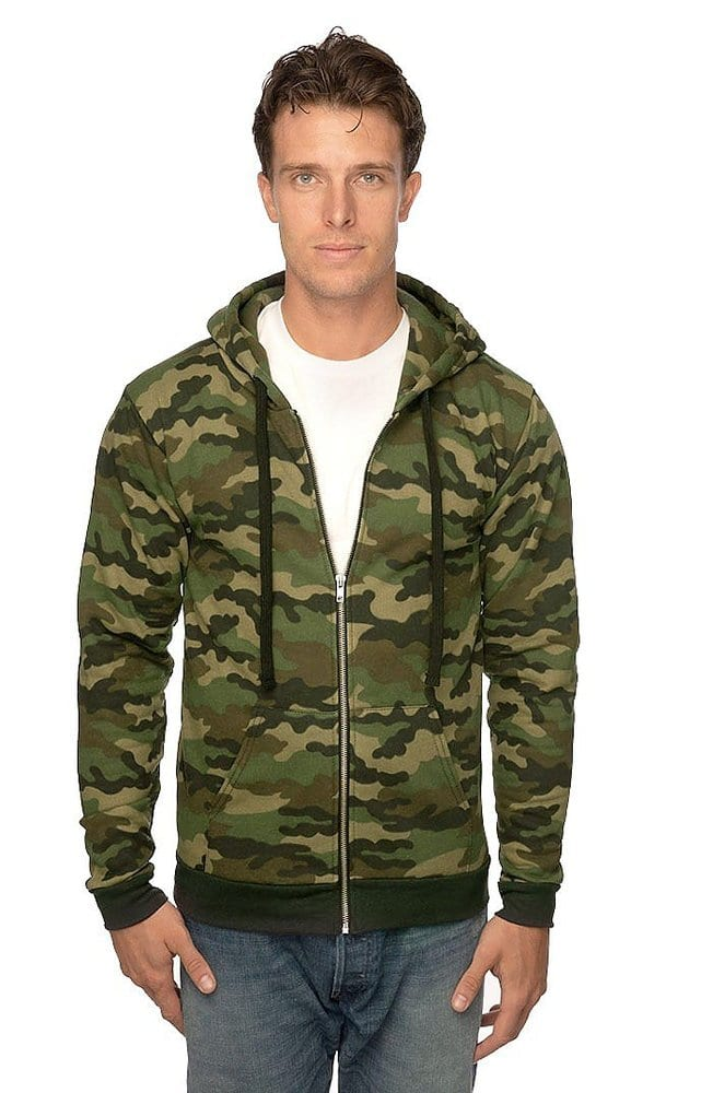 Royal Apparel 3510cmo - Unisex Camo Fleece Full Zip Hoodie