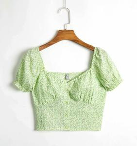 Short top with small flower print and square neckline - F20BL1241