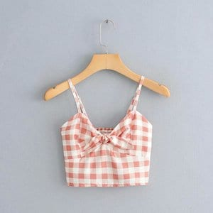 Linen bustier crop top with gingham print - 6327