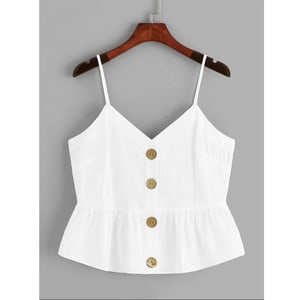 Needen or40476a - Top peplum thin straps with V neckline and wooden buttons