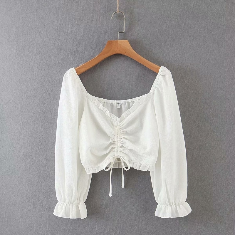 Shirred long-sleeved top with drawstrings - AB-2895