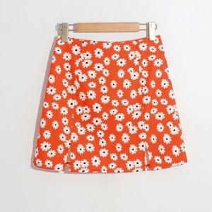 Needen 8020 - Straight skirt with daisy print