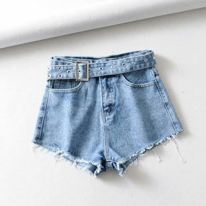 Needen 930 - High waist mini shorts with belt