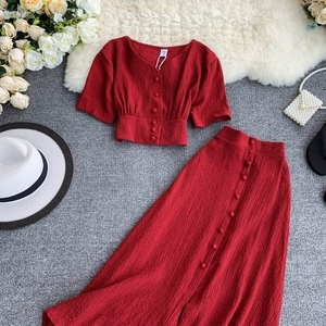 Crop top and long skirt crepe set 4626