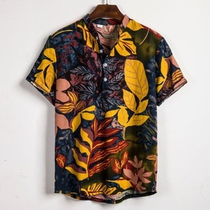 Needen PL9 - Short-sleeved shirt with mao collar and tropical print