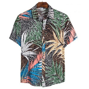 Needen CS123 - Short sleeve shirt with foliage print