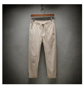 Cotton and linen structured jogging pants A018