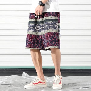 Needen HZ103 - Ethnic print Bermuda shorts