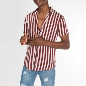 Striped print short-sleeved shirt CH08