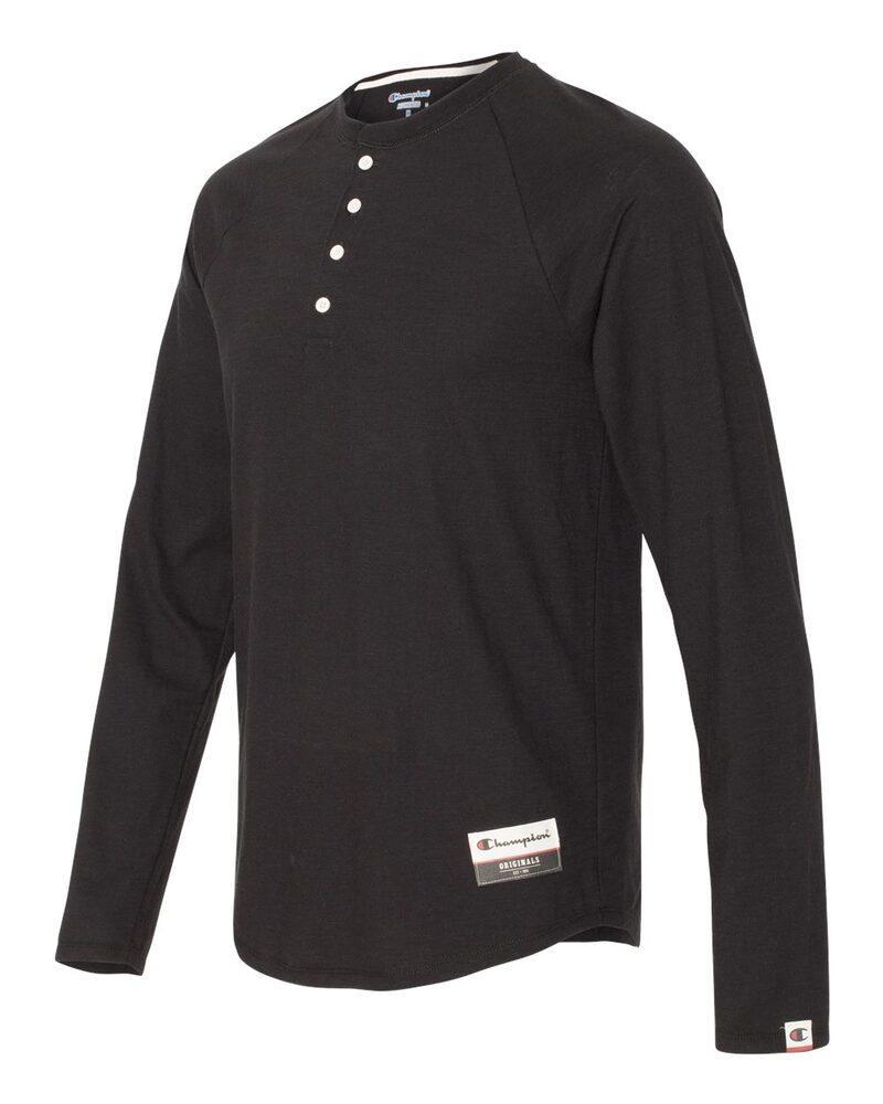 Champion AO380 - T-Shirt Henley à manches longues pour les adultes