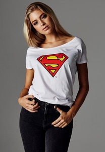 Merchcode MC107 - Camiseta de mujer con logo de Superman