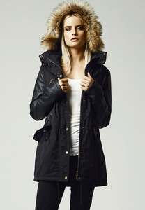 Urban Classics TB1091 - Parka donna Leather Imitation Sleeve