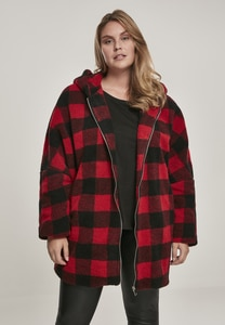 Urban Classics TB3056 - Ladies Hooded Oversized Check Sherpa Jacket