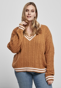Urban Classics TB3772 - Ladies Short V-Neck College Sweater
