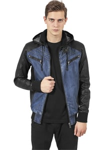 Urban Classics TB675 - Hooded Denim Leather Jacket