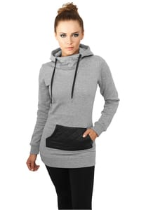 Urban Classics TB792 - Ladies Long Leather Imitation Pocket Hoody