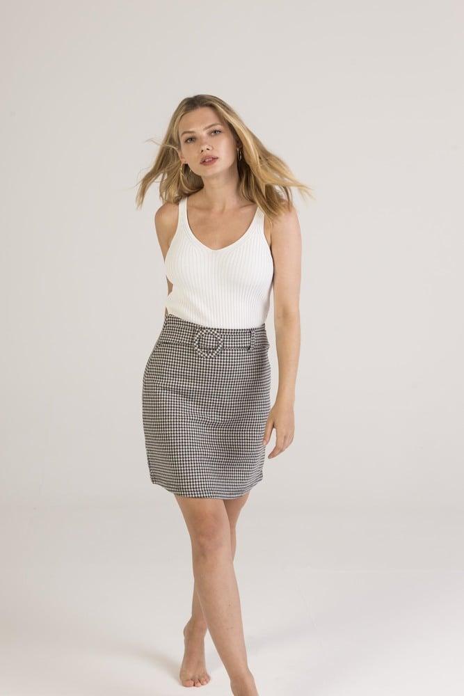 DAYSIE 1SK1 - Stretch gingham skirt
