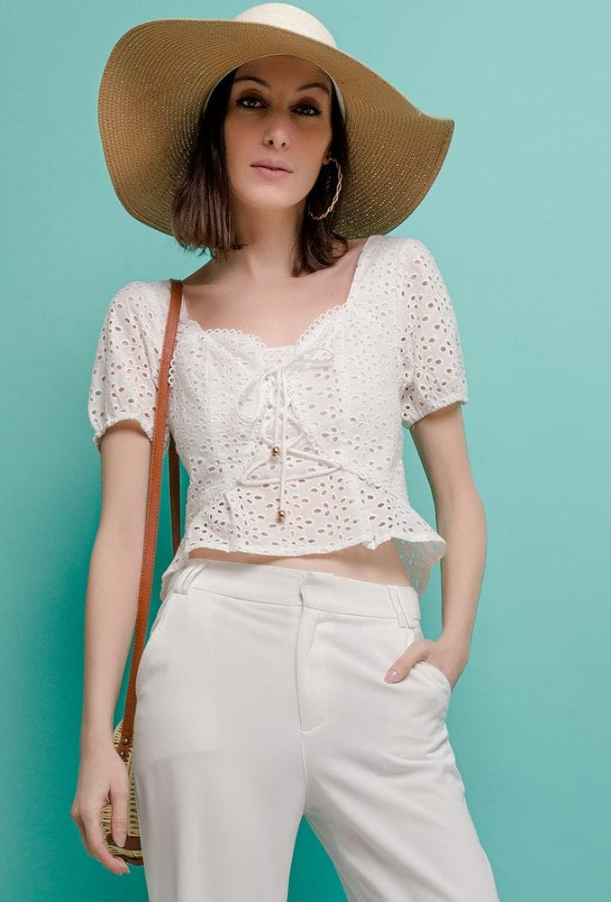 ALLYSON 1TP13 - Embroidered and perforated Blouse