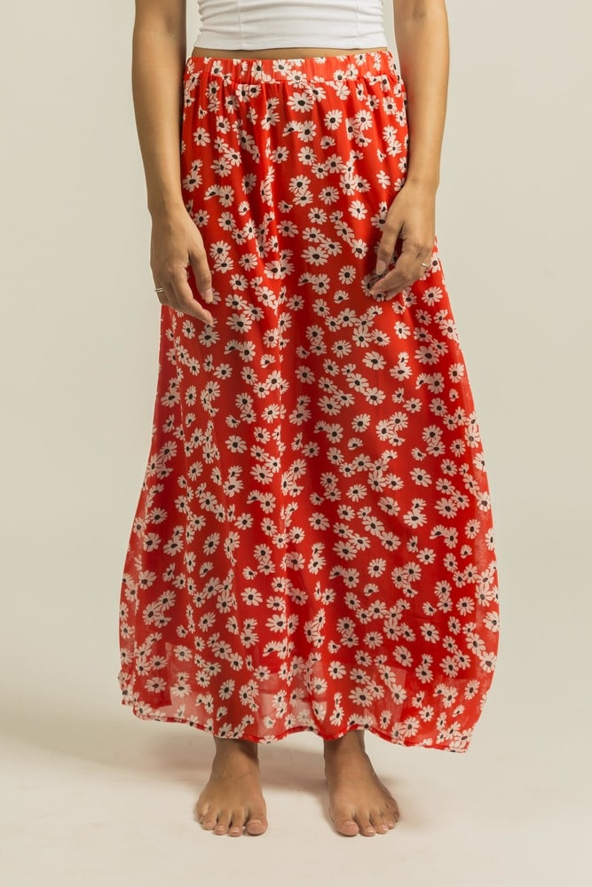 MOD.STYLE 1SK4 - Long skirt with flower print