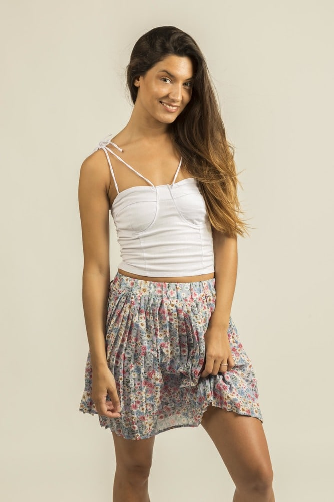 ELENZA 1SK5 - Floral pleated skirt
