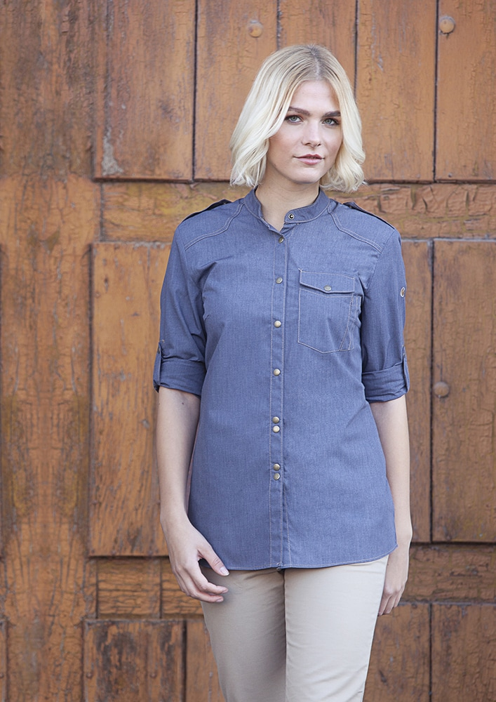 Karlowsky JF 18 - Ladies' Chef Shirt Jeans-Style