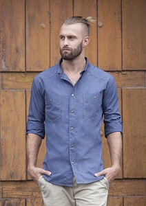 Karlowsky JM 30 - Button-Down Chef Shirt Jeans-Style