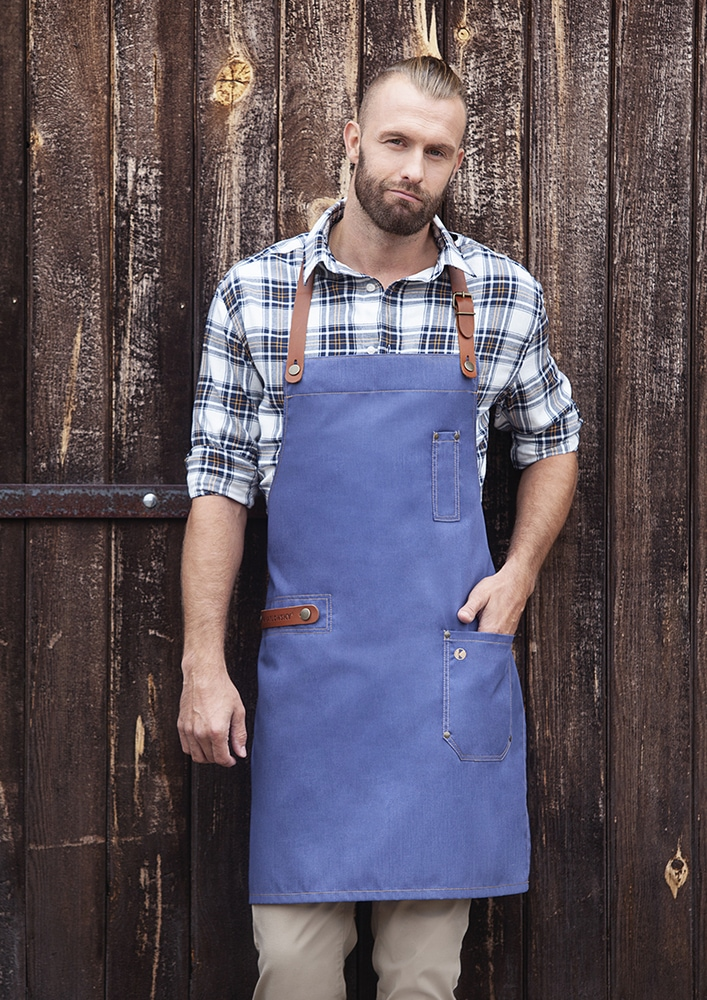 Karlowsky LS 24 - Bib Apron Jeans-Style with leather and pocket 71 x 80 cm