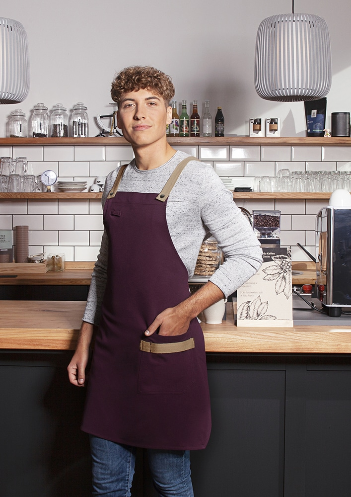 Karlowsky LS 38 - Bib Apron Urban-Look with Cross Straps and Pocket 70 x 85 cm