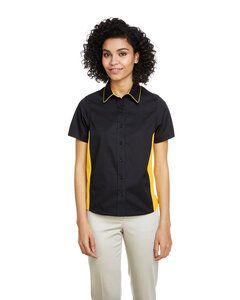 Harriton M586W - Chemise à manches courtes Flash Il Colorblock pour femme