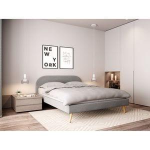 Atelier Mundo SJ-546 - Cadre de lit scandinave avec tête de lit et sommier à lattes en tissu