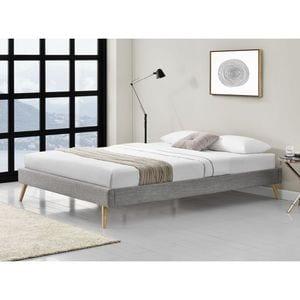 Atelier Mundo SJ-438 - Cadre de lit style scandinave en tissu avec pieds bois