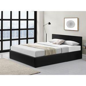 Atelier Mundo SJ-432 - Cadre de lit avec coffre de rangement et tête de lit en simili