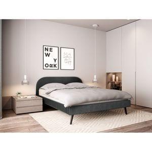 Atelier Mundo SJ-548 - Cadre de lit scandinave avec tête de lit et sommier à lattes en velours