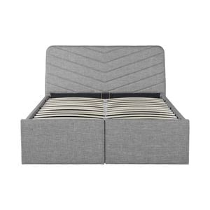 Atelier Mundo SJ-557 - Cadre de lit avec tête de lit, sommier à lattes et 2 tiroirs en tissu