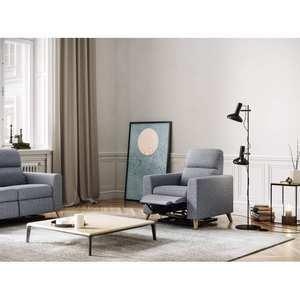 Atelier Mundo SA-331 - Fauteuil de relaxation scandinave en tissu et pieds bois hêtre