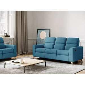 Atelier Mundo SA-333 - Canapé de relaxation scandinave manuel 3 places en tissu et pieds bois hêtre