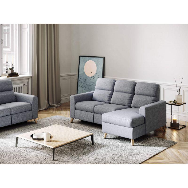 Atelier Mundo SA-334 - Canapé d'angle de relaxation scandinave avec coffre en tissu et pieds bois hêtre