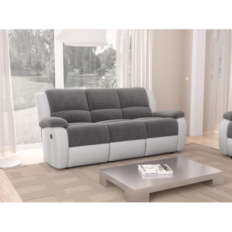 Atelier Mundo SA-353 - Canapé de relaxation électrique 3 places en microfibre et simili