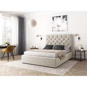 Atelier Mundo SA-367 - Cadre de lit avec coffre et tête de lit capitonnée en tissu