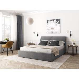 Atelier Mundo SA-371 - Cadre de lit avec coffre, tête de lit et sommier inclus en tissu