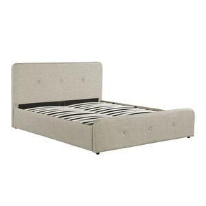 Atelier Mundo SA-373 - Cadre de lit avec tête de lit, sommier à lattes et coffre de rangement en tissu