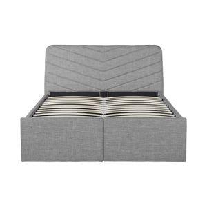 Atelier Mundo SA-374 - Cadre de lit avec tête de lit, sommier à lattes et 2 tiroirs en tissu