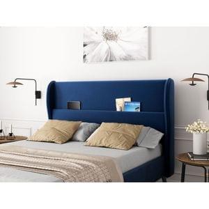 Atelier Mundo SA-375 - Cadre de lit avec tête de lit et sommier à lattes  en velours